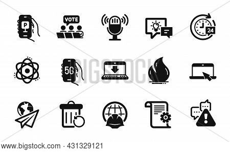 Vector Set Of Atom, Internet Downloading And Technical Documentation Icons Simple Set. Recovery Tras