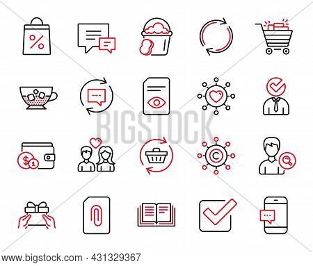 Vector Set Of Line Icons Related To Shopping Bag, Vacancy And Comment Icons. Refresh Cart, Smartphon
