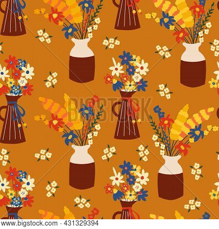 Autumn Flowers Seamless Vector Background. Repeating Pattern With Colorful Fall Flower Vases. Use Fo