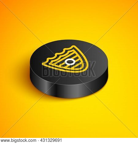 Isometric Line Shield Icon Isolated On Yellow Background. Guard Sign. Security, Safety, Protection,