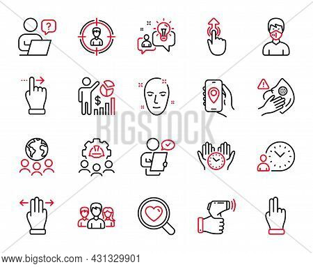Vector Set Of People Icons Related To Dirty Mask, Health Skin And Teamwork Icons. Swipe Up, Multitas