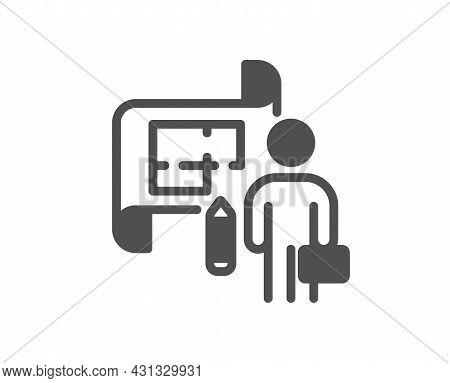 Plan Icon. Architect Project Sign. Architecture Design Symbol. Classic Flat Style. Quality Design El