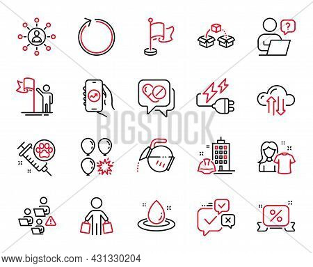 Vector Set Of Business Icons Related To Clean Shirt, Financial App And Construction Building Icons.