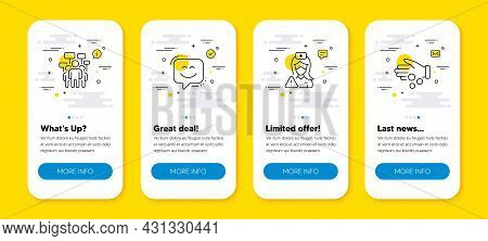 Vector Set Of Voting Campaign, Nurse And Smile Face Line Icons Set. Ui Phone App Screens With Line I