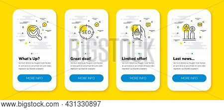 Vector Set Of Food App, Chemistry Lab And Seo Line Icons Set. Ui Phone App Screens With Line Icons.
