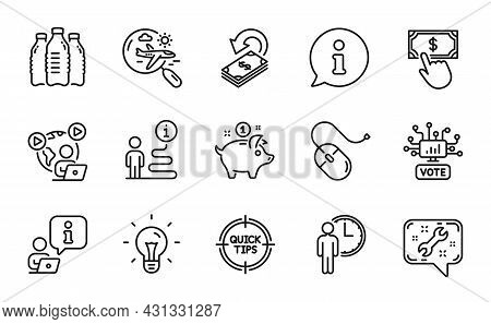 Business Icons Set. Included Icon As Spanner, Tips, Video Conference Signs. Idea, Search Flight, Onl
