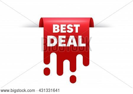 Best Deal Text. Red Ribbon Tag Banner. Special Offer Sale Sign. Advertising Discounts Symbol. Best D