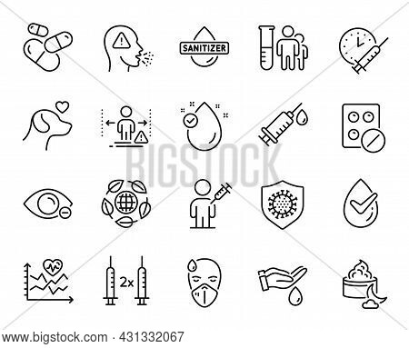 Vector Set Of Medical Analyzes, Eco Organic And Medical Tablet Line Icons Set. Coronavirus, Sick Man