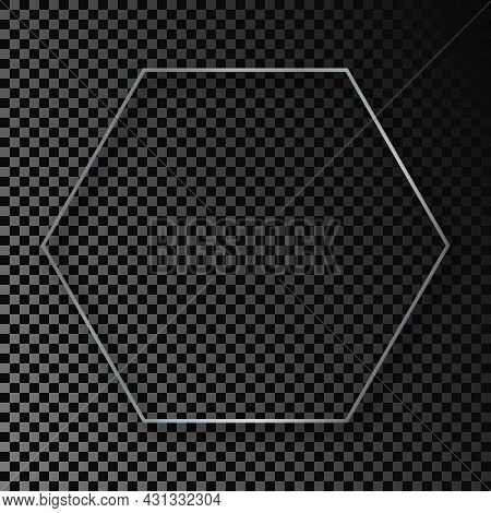 Silver Glowing Hexagon Frame With Shadow Isolated On Dark Transparent Background. Shiny Frame With G