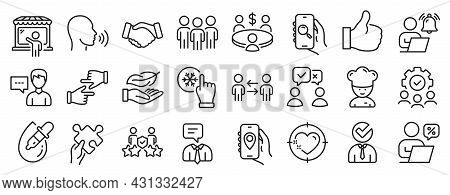 Set Of People Icons, Such As Market Seller, Lightweight, Freezing Click Icons. Person Talk, Puzzle,