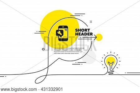 Spanner Tool Icon. Continuous Line Idea Chat Bubble Banner. Phone Repair Service Sign. Fix Instrumen