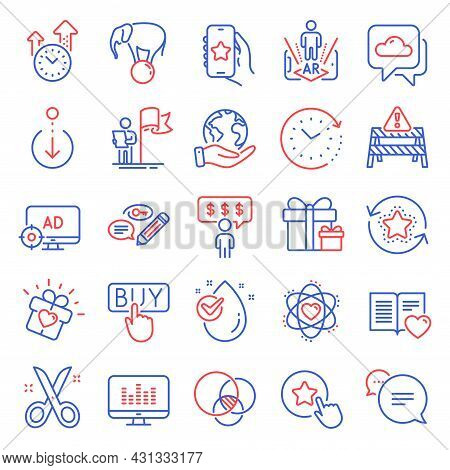 Business Icons Set. Included Icon As Time Change, Weather Forecast, Employee Benefits Signs. Love Gi