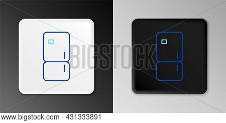 Line Refrigerator Icon Isolated On Grey Background. Fridge Freezer Refrigerator. Household Tech And