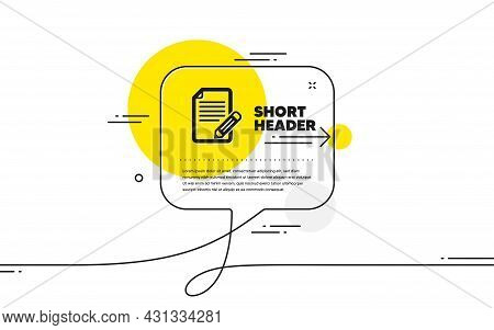 Feedback Icon. Continuous Line Chat Bubble Banner. Page With Pencil Sign. Copywriting Symbol. Articl