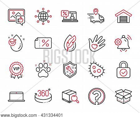 Vector Set Of Business Icons Related To 360 Degrees, Discount Banner And Hypoallergenic Tested Icons