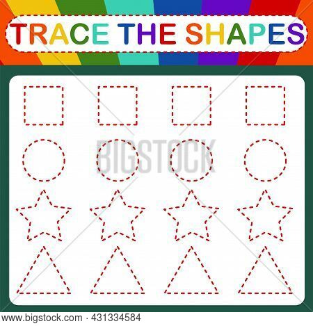 An Educational Children's Vector Game Called Trace The Shapes. Handwriting Practice