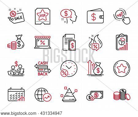 Vector Set Of Finance Icons Related To Calendar Graph, Hot Offer And Budget Accounting Icons. Graph