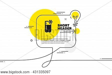 Single Chamber Refrigerator Icon. Continuous Line Idea Chat Bubble Banner. Fridge Sign. Freezer Stor