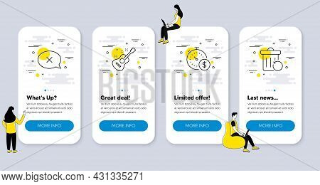 Set Of Business Icons, Such As Reject, Guitar, Last Minute Icons. Ui Phone App Screens With People.