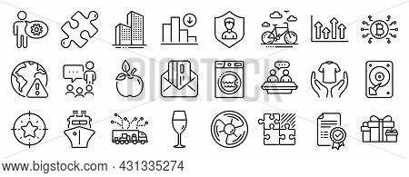 Set Of Business Icons, Such As Certificate, Truck Delivery, Hdd Icons. Hold T-shirt, Internet Warnin