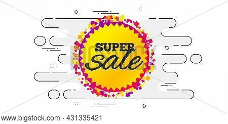 Super Sale Banner. Geometric Ad Banner On Flow Pattern. Discount Sticker Shape. Coupon Bubble Icon.