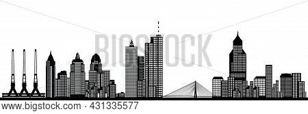 Busy City Skyline With Architecture Houses And Other Buildings With Port And Bridge