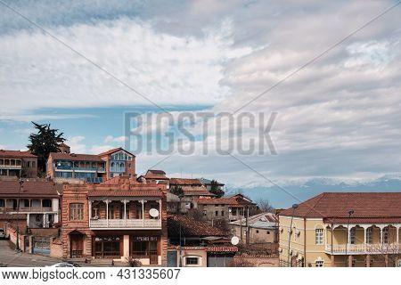 Telavi, Georgia, February, 28, 2021: Old Historical Part Of Telavi Town, Capital City Of Kakheri Reg
