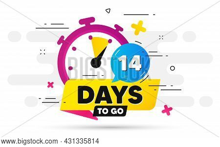 Fourteen Days Left Icon. Offer Countdown Date Number. Abstract Banner With Stopwatch. 14 Days To Go