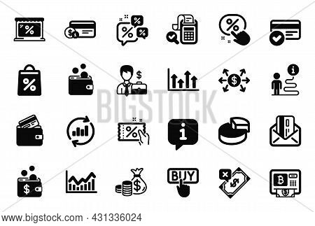 Vector Set Of Finance Icons Related To Credit Card, Discount Coupon And Businessman Case Icons. Doll