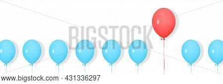 A Row Or Line Of Blue Balloons With One Red In Between. Pop Art Design, Creative Festive Concept. St