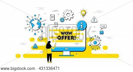 Wow Offer Text. Internet Safe Data Infographics. Special Sale Price Sign. Advertising Discounts Symb