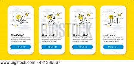 Vector Set Of Loyalty Tags, Consultant And Serum Oil Line Icons Set. Ui Phone App Screens With Line