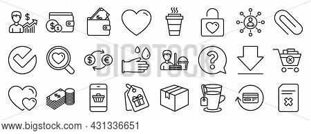 Set Of Line Icons, Such As Parcel, Currency Exchange, Remove Purchase Icons. Savings, Smartphone Buy