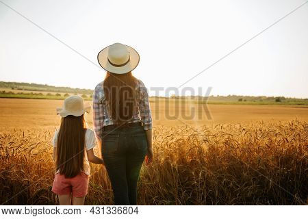 Back View, Woman And Daughter Child With Hat On Head Examines Farmland, Golden Wheat At Sunset