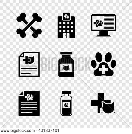 Set Crossed Bones, Veterinary Medicine Hospital, Clinical Record Pet Monitor, Medical Certificate Fo