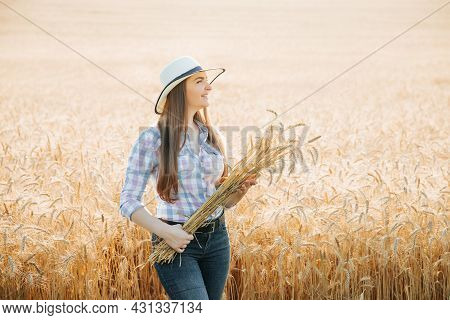Front View Portrait Of Young Woman Farmer With Hat Across Golden Wheat Field Holding Heap Of Wheat A