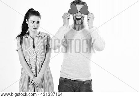 Man And Woman Couple In Love Hold Red Heart Valentines Cards On White Background. Romantic Couple In