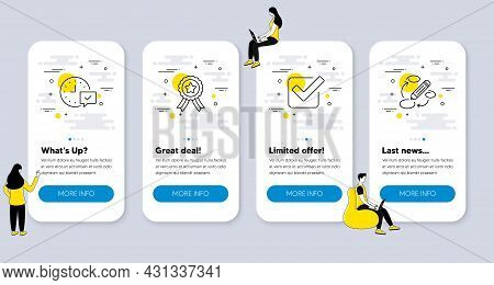 Set Of Business Icons, Such As Winner Ribbon, Select Alarm, Checkbox Icons. Ui Phone App Screens Wit