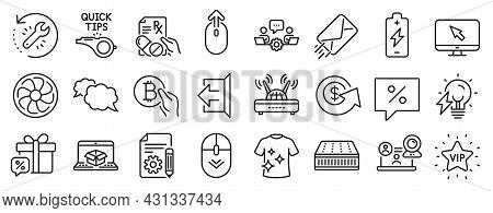 Set Of Business Icons, Such As Wifi, Swipe Up, Recovery Tool Icons. Discount Message, E-mail, Bitcoi