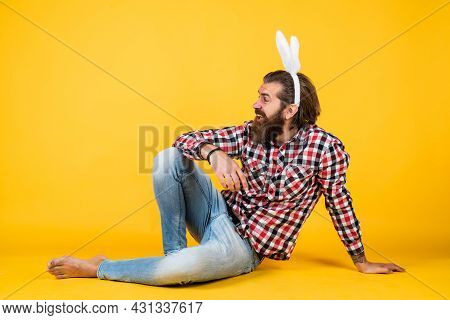 Funny Bunny. Happy Easter. Funny Bearded Man Wear Bunny Ears. Guy In Rabbit Costume Having Fun. Spri