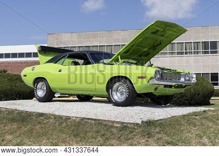 Kokomo - Circa August 2021: Dodge Challenger Display At The Stellantis Chrysler Transmission Plant.