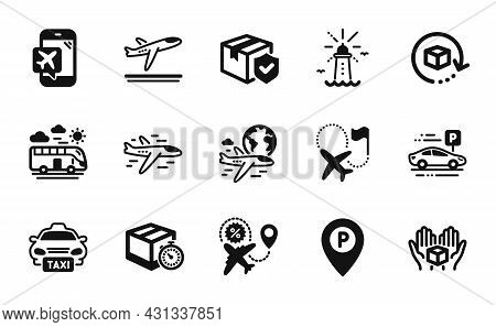 Vector Set Of International Flight, Parking And Lighthouse Icons Simple Set. Hold Box, Airplane And