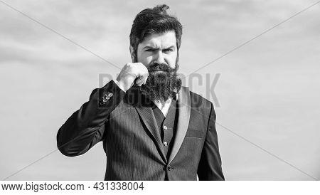 Man Bearded Hipster Wear Formal Suit Blue Sky Background. Vintage Style Beard. Facial Hair Beard And