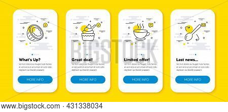Vector Set Of Coffee Cup, Ice Cream And Coconut Line Icons Set. Ui Phone App Screens With Line Icons