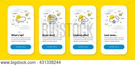Vector Set Of Eco Energy, Messenger And File Storage Line Icons Set. Ui Phone App Screens With Line