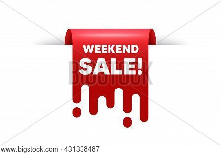 Weekend Sale Text. Red Ribbon Tag Banner. Special Offer Price Sign. Advertising Discounts Symbol. We