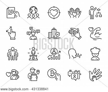 Vector Set Of Group, Success And Work Home Line Icons Set. Hold Document, Hold Heart And Global Busi