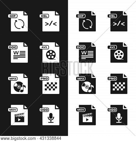 Set Avi File Document, Doc, Gif, Xsl, Mp3, Png, Ogg And Mov Icon. Vector
