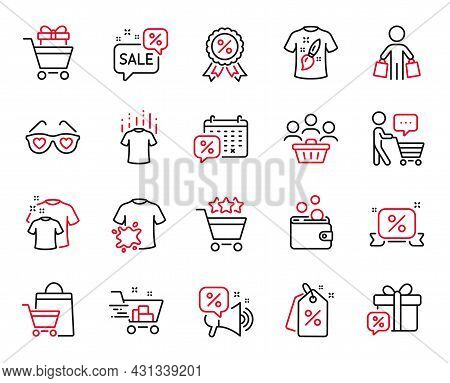 Vector Set Of Fashion Icons Related To Buyer Think, Sale Gift And Discount Tags Icons. Discounts Bub