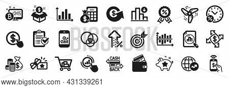 Set Of Finance Icons, Such As Loyalty Points, Survey Checklist, World Statistics Icons. Debit Card,